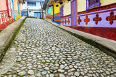 Colorful Cobblestone Street — Stockfoto
