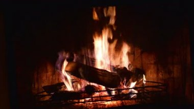 Logs Burning in a Fireplace — Stockvideo
