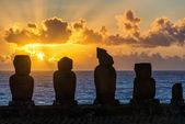 Five Moai at Sunset — Stock Photo