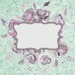Stock vektor: Vintage card with flower and polkdot. EPS 8