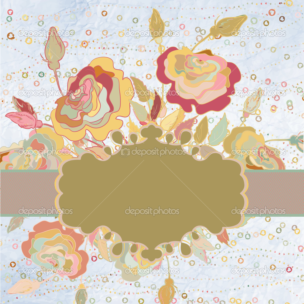 Vintage background with flowers and a frame. And also includes EPS 8 vector — Stock Vector #13507389