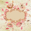 Flowers, hearts and frame on vintage. EPS 8 - Imagen vectorial