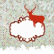 Template vintage with deer and snowflake. EPS 8 — Stock Vector