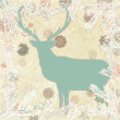 Vintage christmas deer card template. EPS 8 — Stock Vector