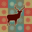 Beautiful Christmas deer with snowflakes. EPS 8 — Stock Vector
