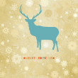 Stock Vector: Сhristmas card with reindeer and snowflakes. EPS 8