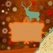 Santa Claus Deer vintage Christmas card. EPS 8 — 图库矢量图片