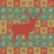Royalty-Free Stock Imagen vectorial: Greeting card with reindeer. EPS 8