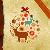 Santa Claus Deer vintage Christmas card. EPS 8 — Stock Vector