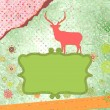 Santa Claus Deer vintage Christmas card. EPS 8 — Stock vektor
