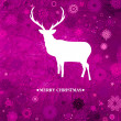 Stock Vector: Christmas deer, purple paper. EPS 8