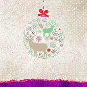 Santa Claus Deer vintage Christmas card. EPS 8 — Stock Vector