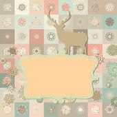 Tarjeta de navidad ciervos. eps 8 — Vector de stock
