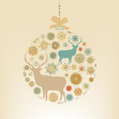 Christmas ball snowflakes and deer. EPS 8 — Stock Vector
