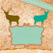 Christmas deer tempate card. EPS 8 — Stock Vector