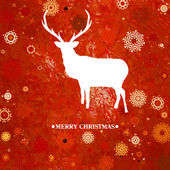 Cartão de natal veado cintage. eps 8 — Vetorial Stock
