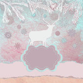 Ciervos de la navidad plantilla tarjeta. eps 8 — Vector de stock