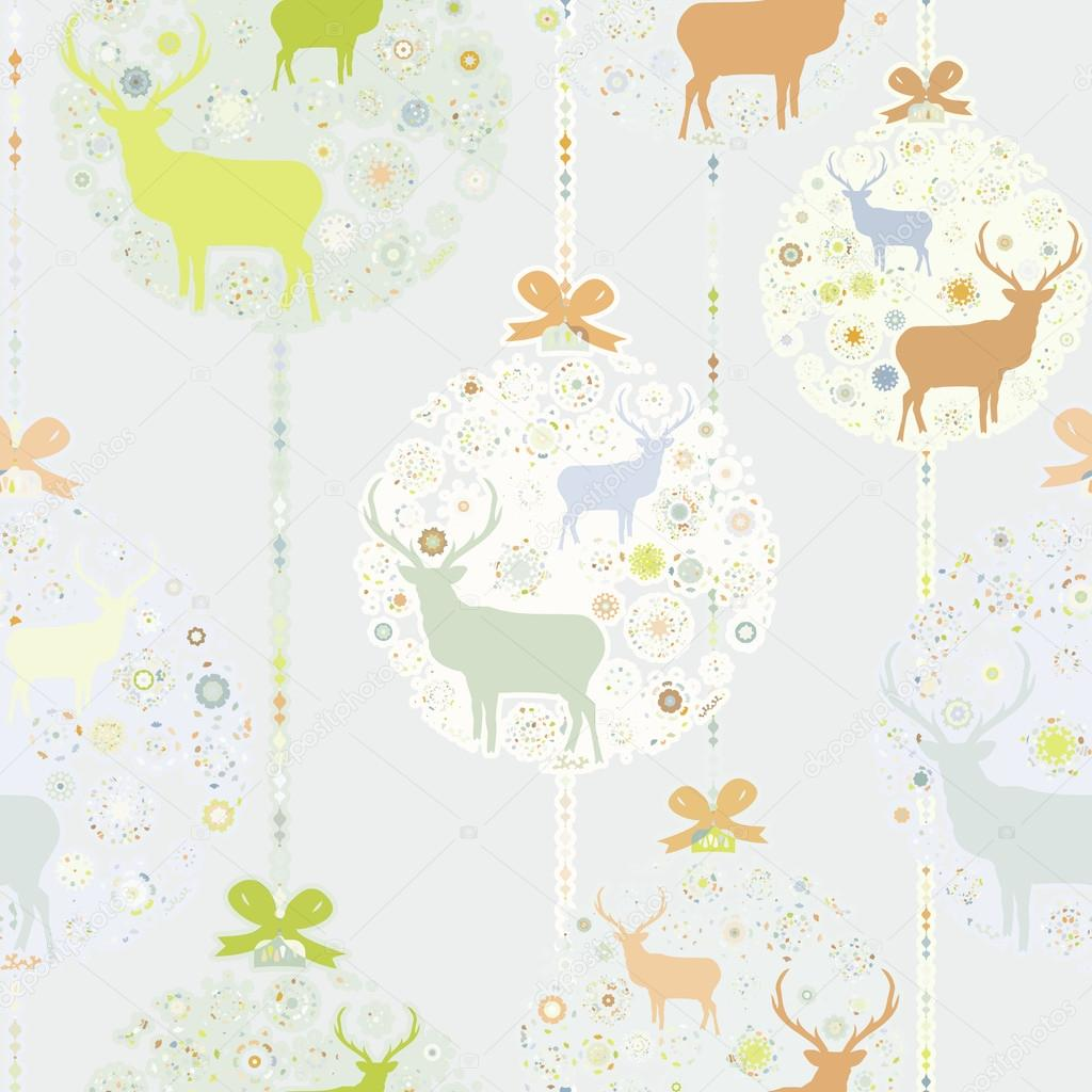Colorful Christmas seamless pattern with balls , deer and snowflakes. And also includes EPS 8 vector — Stock Vector #16215411