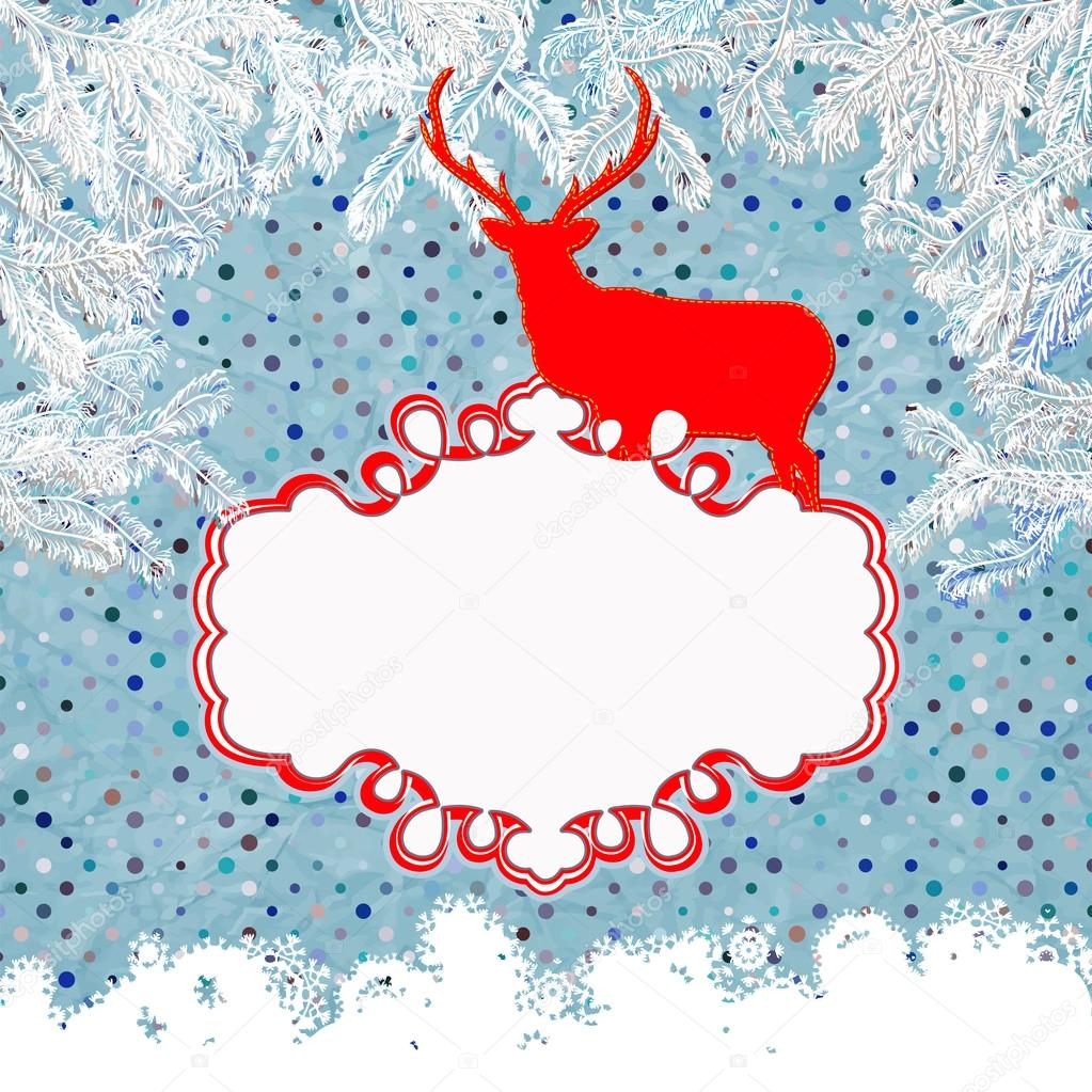 Christmas card with deer. And also includes EPS 8 vector — Stock Vector #17177791