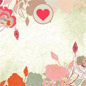 Cartolina di san valentino cuore floreale. eps 8 — Vettoriale Stock