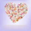 Stock Vector: Orabge love hearts. EPS 8