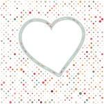 Lovely pink blue polka dots heart frame. EPS 8 — Stock Vector
