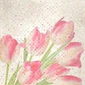 Retro floral mit polka dot tulpen. eps 10 — Stockvektor