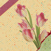 Vintage tulips with polka dot. EPS 10 — Stok Vektör