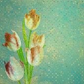 Vintage card Tulip on polka dot background. EPS 10 — Stock Vector