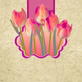 Retro floral background with tulips. EPS 10 — Stock Vector