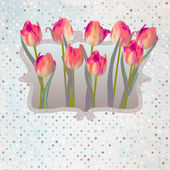 Paper beautiful tulips with polka dot. EPS 10 — Stock Vector