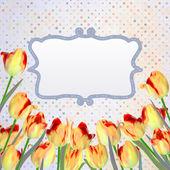 Carta d'epoca tulipani con pois. eps 10 — Vettoriale Stock