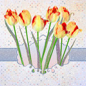 Tarjeta de tulipanes vintage con lunares. eps 10 — Stok Vektör