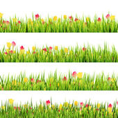Green grass and beautiful spring flowers. EPS 10 — Wektor stockowy