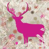 クリスマスの鹿は tempate カード。eps 8 — ストックベクタ