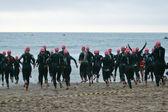 Women doing triathlon — Stock Photo
