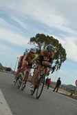 Women triathletes in bike — Stock Photo