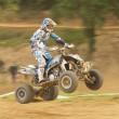 Panning shot of quad rider in jump. — Stock Photo