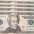 Background with money US 20 dollar bills - Stock Photo