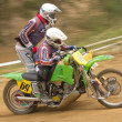 Dynamic shot of two racers ride a  sidecar — Stock Photo
