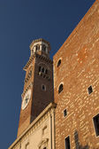 84 m high tower Torre dei Lamberti in Verona (Italy) — Foto de Stock