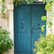 Old blue door with flowers — Stock Photo