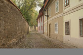 Foggy morning in an old streets of Prague. — Stock Photo