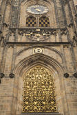 Gold window of Cathedral of st. Vitus (Prague) — Stock Photo