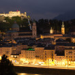 Aerial view of Salzburg in the nigh — Stock Photo