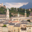 General view of Salzburg in sunset light — Stock Photo