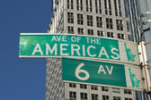 Sign of Sixth Avenue in Manhattan (NYC, USA) — Stock Photo