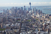An aerial view of Manhattan with the Freedom Tower. — Stock Photo