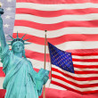 Statue of Liberty and Two American flag — Foto Stock