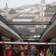 View form a funicular railway (Salzburg, Austria) - Stock Photo